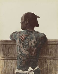 Japanese man with an Irezumi Tattoo, 1875