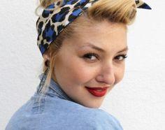blue leopard head scarf