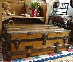 Old Pine Banded Trunk Vintage Pine Box Wooden Travel Chest Coffee Table