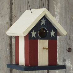 Primitive Bird Houses | Birdhouse Primitive Folk Art Flag Red White by DoorCountyWoodworks