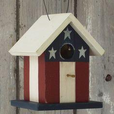 Primitive Bird Houses   Birdhouse Primitive Folk Art Flag Red White by DoorCountyWoodworks