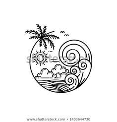 summer on tropical island, line art style design Mini Drawings, Cool Art Drawings, Doodle Drawings, Easy Drawings, Doodle Art, Drawing Sketches, Circle Drawing, Beach Drawing, Tatoo Naruto