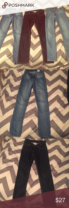 H&M girl jeans. Barely worn, 3 pairs of H&M jeans. Size 6/7 H&M Bottoms Jeans