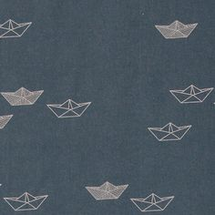 Cotton dk blue w paper boats - Stoff & Stil - Woven cotton is ideal for table cloths, cushions and bespread and linens.