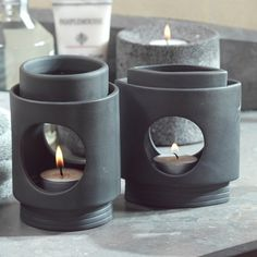 5 in. Grey Ceramic Oil Burner