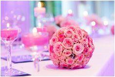 Pink wedding flower ball