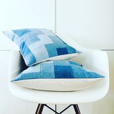 New in the Shop! Various Hues of Blue Cotton Denim in a Patchwork Motif, Sure to Add the Right Texture➕Pattern to Your Home Pillow Collage