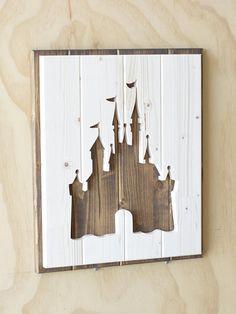 Disney Castle Wood Plaque Silhouette A beautiful handmade/hand cut wood silhouette of t Casa Disney, Disney Diy, Disney Crafts, Disney House, Disney Stuff, Disney Wall Decor, Disney Home Decor, Disney Decorations, Office Decorations