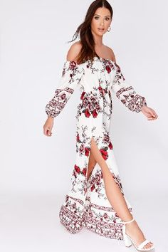 Order the White Floral Bardot Maxi Dress from In The Style. Shop today with next day delivery available until Bardot, Cold Shoulder Dress, White Dress, Womens Fashion, Floral, Shopping, Delivery, Tops, Dresses