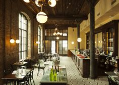 Wythe Hotel, Brooklyn, New York : Condé Nast Traveler. Hotel includes Marlowe and Sons and Diner, two of some of the best restaurants in Brooklyn. Williamsburg Brooklyn, Casa Hotel, Hotel Restaurant, Restaurant Design, Hotel Foyer, Brooklyn Restaurant, Restaurant Lighting, Hotel Lobby, Cabanas
