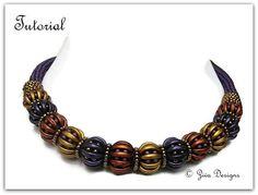 Crescent beads beadeweaving necklace instructions, seedbeads tubular peyote rope, beading pattern