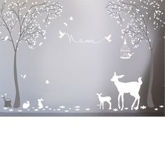 Alice and Joseph Bespoke Woodland Forest Wall Sticker Baby Bedroom, Baby Boy Rooms, Baby Room Decor, Nursery Room, Baby Boy Nurseries, Girl Nursery, Woodland Bedroom, Woodland Nursery Girl, Enchanted Forest Nursery