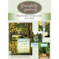 Gracefully Yours Praying for You - Faith Walk Greeting Cards featuring Heather Tocquigny, 12, 4 designs/3 each with Scripture Message, Black