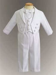 Boys Baptism Outfit | Infant White Tuxedo with tail