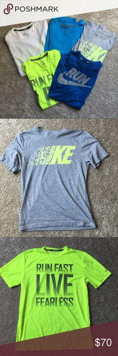🔥 LOT OF 5 Nike Running Shirts (Small&Medium) 🔥 Lot of five Nike running shirts - Sizing is as follows: WHITE SHIRT: Small / TEAL V-NECK: Small / GREY T: Small / BLUE GRAPHIC: Medium / GREEN GRAPHIC: Medium. All shirts are in pristine condition other than the white shirt that I included pictures of.. Let me know if you have any questions. Nike Shirts Tees - Short Sleeve