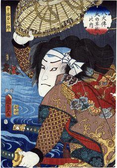 Nakamura Fukusuke I (初代中村福助) as Jūjō Rikijirō (十條力二郎) Lyon Collection of Japanese Woodblock Prints
