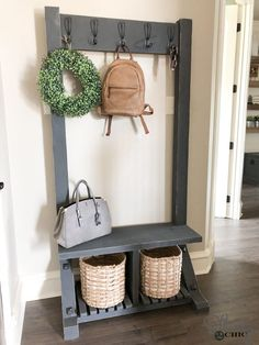 We are always looking for ways to create extra storage spots that are not only functional but beautiful! We have designed this DIY Modern Farmhouse Hall Farmhouse Hall Trees, Modern Farmhouse, Farmhouse Furniture, Diy Furniture, Farmhouse Decor, Country Furniture, Furniture Design, Furniture Stores, Furniture Removal