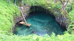 Swimming at To Sua Ocean Trench.One of the most classically beautiful spots in the Pacific, the To Sua Ocean Trench is a sinkhole near Lotofaga village on the south-east coast of Upolu island. Its aqua waters look as though they drilled into the lush garden surrounds, and ferns hang from the rim of the cliffs.