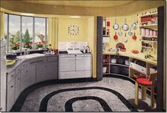 1940s kitchen - love the floor