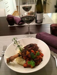 Overcooked lamb shank, potato pyre and oven vegetables