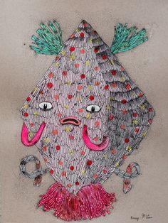 """ever so slightly"" creature on paper original art."