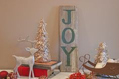 "Reclaimed wood ""JOY"" sign // Diamond Designs"