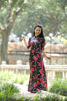 New AO DAI Vietnam CUSTOM MADE, Chiffon & Satin, Floral Pattern, Ao Dai Dress #HienThao #Casual