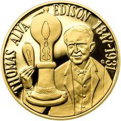 THOMAS ALVA EDISON - 135. VÝROČÍ SESTROJENÍ ŽÁROVKY ZLATO Thomas Alva Edison, Maya, Ohio, Buddha, Statue, Personalized Items, Bollywood, Coins, Love
