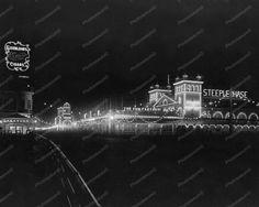 ATLANTIC CITY BOARDWALK AT NIGHT  c1910