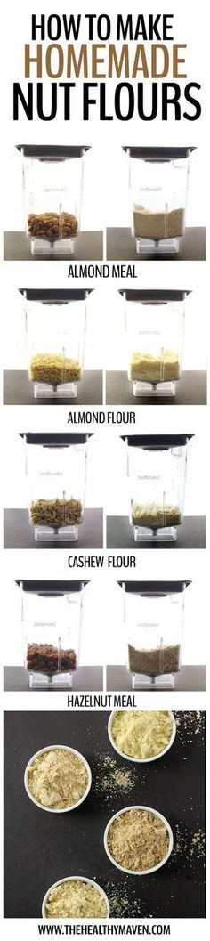 Ever wondered how to make your own homemade nut flours? From almond meal to almond flour, hazelnut meal and even cashew meal, this step by step tutorial will teach you how to make the recipe at home! Vitamix Recipes, Blender Recipes, Paleo Recipes, Low Carb Recipes, Whole Food Recipes, Cooking Recipes, Jelly Recipes, Dinner Recipes, Almond Flour Recipes