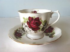 Royal Albert Tea Cup Saucer Bone China England Red Roses and White Roses | eBay