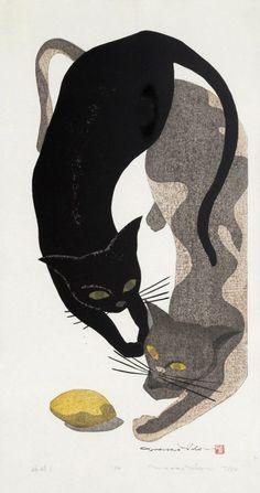 Ido Masao - Two Cats and a Lemon, Woodcut Art Et Illustration, Illustrations, Botanical Illustration, Asian Cat, Black Cat Art, Black Cats, Japanese Cat, Art Asiatique, Gatos Cats