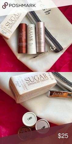 Fresh Mini Trio Sugar Kisses & Lip Therapy New. Sample size. Authentic. Visit product site for product info. No trades. Offers welcomed. Listing doesn't include bag.  Fresh mini sugar kisses rose 0.07 no box Fresh mini sugar kisses sugar 0.07 no box Fresh mini sugar advance therapy 0.07 oz in box  💕 Fresh Makeup Lip Balm & Gloss