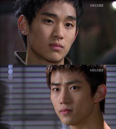 """Sam Dong: """"Decidí no confesarme ante ella"""". Jin Guk: """"¿Qué?"""". Sam Dong: """"Me di cuenta de esto cuando Hye Mi estaba a punto de irse. No importa quién esté al lado de ella, porque me gusta esa bribona. Incluso si a ella le gustas, me gustará incluso si a ella no le agrado. Sólo la necesito a mi lado. ¿Por qué me miras de esa forma?"""". Jin Guk: """"Oh, eres el mismo de siempre. La habilidad que tienes para darle escalofríos a la gente""""- Sam Dong se sonríe - Dream High, Episodio 16"""