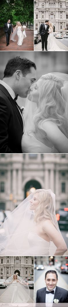 Beautiful wedding portraits on Broad Street in Philadelphia. The veil was placed over face for softer images. The Ritz-Carlton Philadelphia Wedding - Sarah DiCicco Photography