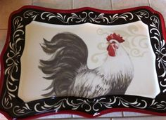 New French Country Ceramic Rooster Tray Plaque Black White  Red Soo Cute