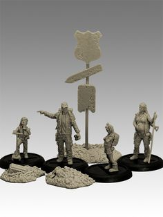 """Sculptor: Luc """"Thantor"""" Pinganaud Scale: 35mm Material: Resin Casting: GRX Creations Set includes: 4 figures (Post-apocalyptic survivors family), sign with base and 2 terrain pieces, 4 round lipped 30mm plastic bases.   Supplied in a plain cardboard box cushioned with foam layers   All our miniatures are supplied unpainted and require assembly. The painted examples are for inspiration only.   Warning : This is not a toy! Recommended for ages 14 and over. May be harmful if chewed or…"""