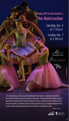 The Makaroff Youth Ballet is thrilled to be presenting the Nutcracker in December 2014 with the Fox Valley Symphony and the Lawrence University Academy Girl Choir!