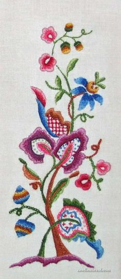 """Cleaning Hand Embroidery"" - crewel embroidery stitched in the 1960′s by JoWynn's grandmother"