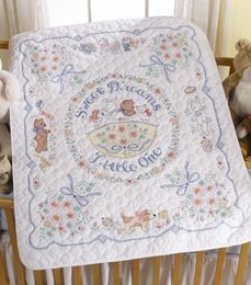 Bucilla ® Baby - Stamped Cross Stitch - Crib Ensembles - Sweet Dreams - Crib Cover