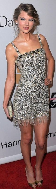 Taylor Swift -Pre-Grammy Gala 2010 Collette Dinnigan, Christian Louboutin shoes and Swarovski