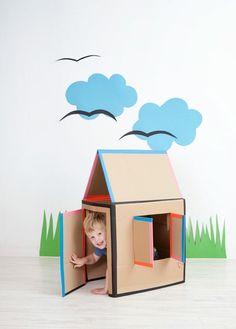 DIY: Cardboard playhouse / Maison en carton