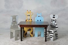 iChart Stained Rectangle Kids Table and Chair Set with 4 Animals on Etsy, $260.00