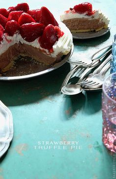 Love the idea.. Will make a healthier version.. Strawberry Truffle Pie via Bakers Royale