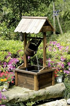 Wood Wishing Well Outdoor Patio Water Fountain