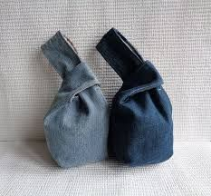 Japanese knot wristlet clutch mini bag pouch case purse recycled denim made to order Clutch Mini, Japanese Knot Bag, Bracelet Knots, Bracelet Denim, Denim Crafts, Recycled Denim, Recycled Fabric, Denim Bag, Handmade Bags
