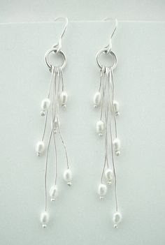 Rice Pearl Organic Earrings--Like the long dangles with pearls on end