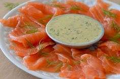Gravlax with a Dill Mustard Dressing Summer Recipes, New Recipes, Salad Recipes, Food Plus, Mustard Dressing, Dinner Sides, Russian Recipes, Fish Dishes, Fish And Seafood