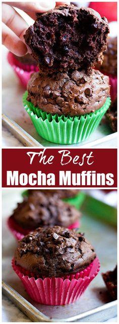 Mocha Muffins   Mocha Muffins Recipe   Mocha Muffins coffee   UnicornsintheKitchen.com #MochaMuffins #BreakfastMuffins #MuffinsRecipe #Muffins