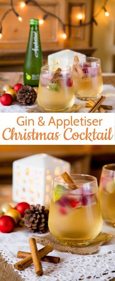 A gin and tonic with a twist. Swap the tonic for sparkling apple juice and add c… A gin and tonic with a twist. Swap the tonic for sparkling apple juice and add cranberry ice cubes for a simple, but stunning Christmas drink. Christmas Party Food, Christmas Cocktails, Xmas Food, Holiday Drinks, Christmas Cooking, Christmas Treats, Holiday Recipes, Christmas Recipes, Christmas Gin